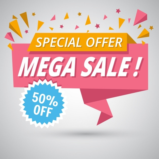 Nice origami banner for sales discounts Free Vector