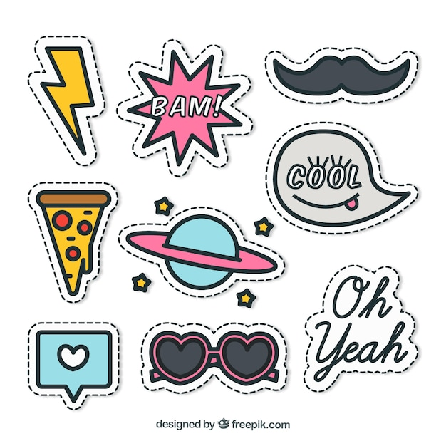 Nice pack of stickers Free Vector