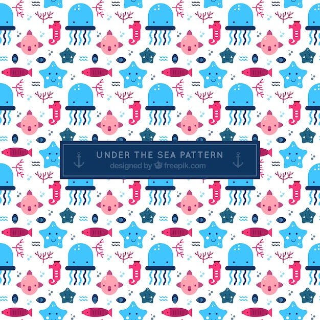 Nice pattern of sea creatures Free Vector