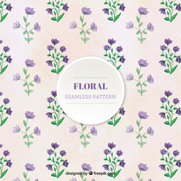 Nice pattern with purple plants Free Vector