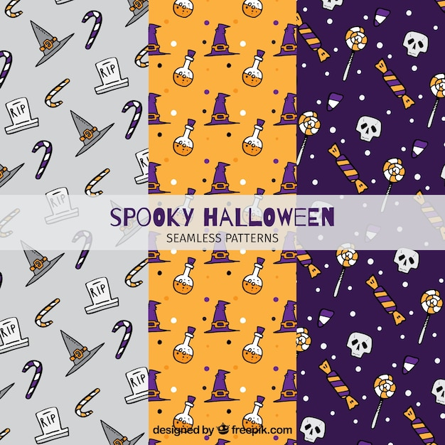 Nice patterns set with halloween\ drawings