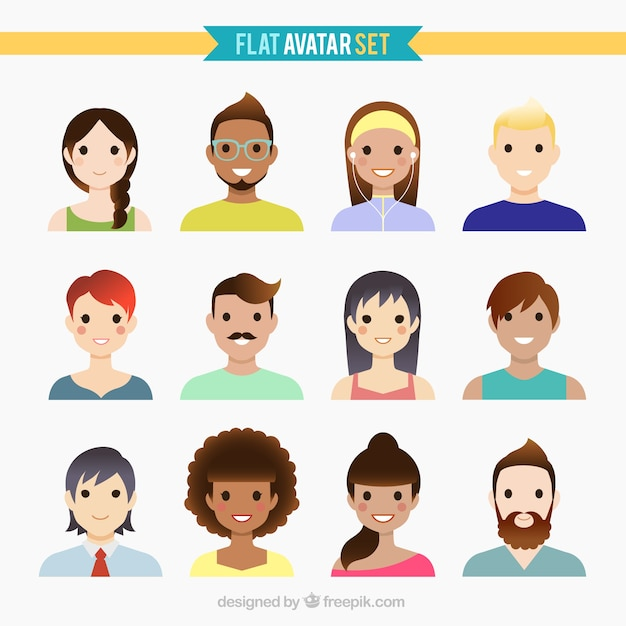 Nice people avatars in flat design Free Vector