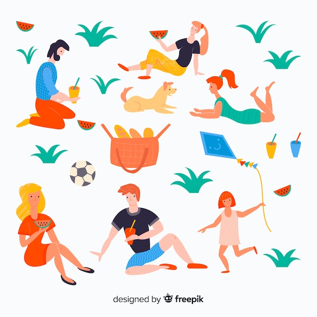 Nice people on a picnic day Free Vector