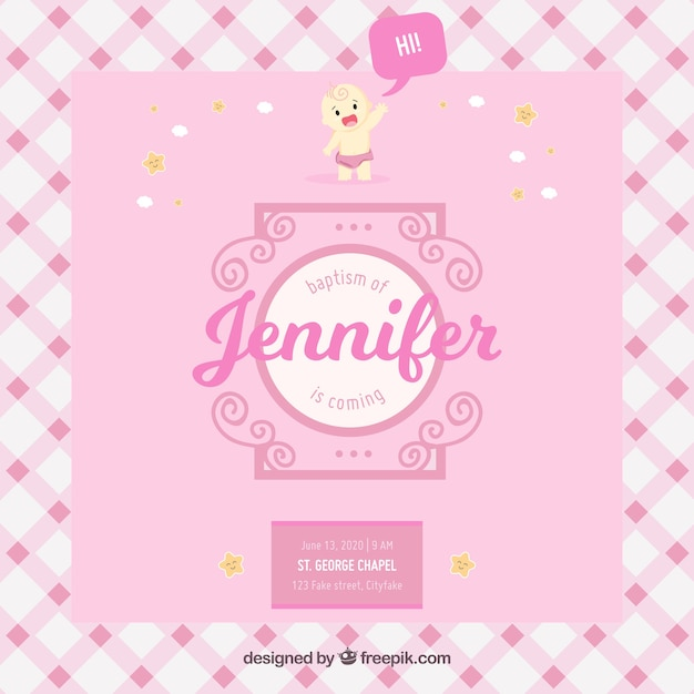 Nice pink invitation for baptism