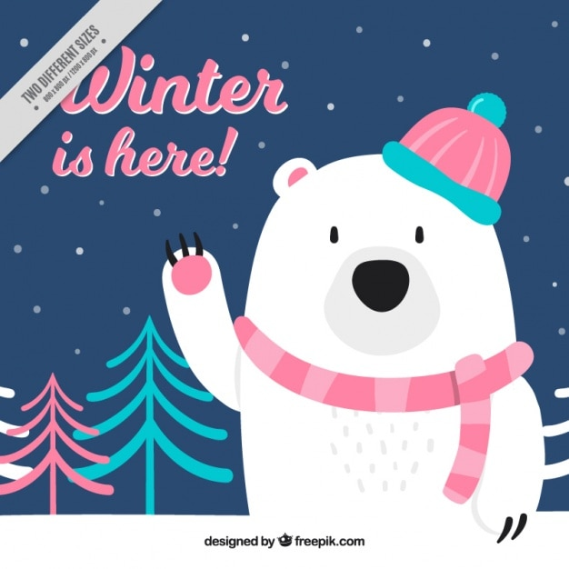 nice polar bear background with scarf and cap vector free download