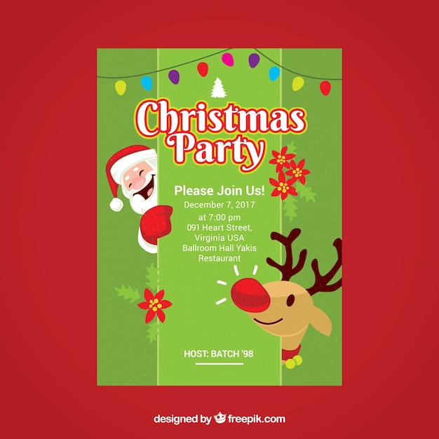 Christmas Restaurant Poster.Nice Poster Of Christmas Party With Santa Claus And Reindeer