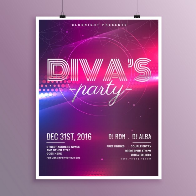 Nice poster for a party in nightclub Free Vector