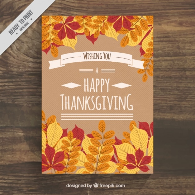 Nice poster with leaves for thanksgiving day Free Vector