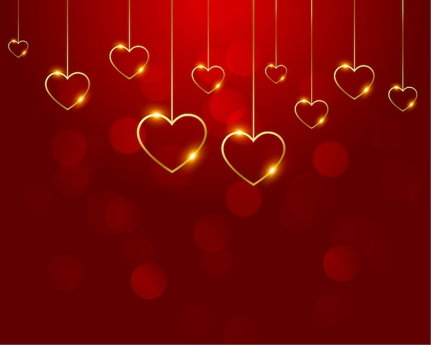 Nice red with golden hearts decoration Free Vector