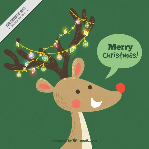 Nice reindeer background with lights and merry christmas message