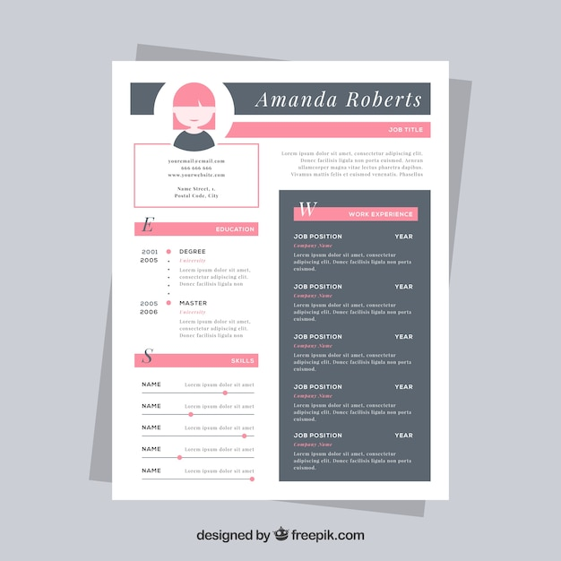 Delightful Nice Resume Template Free Vector