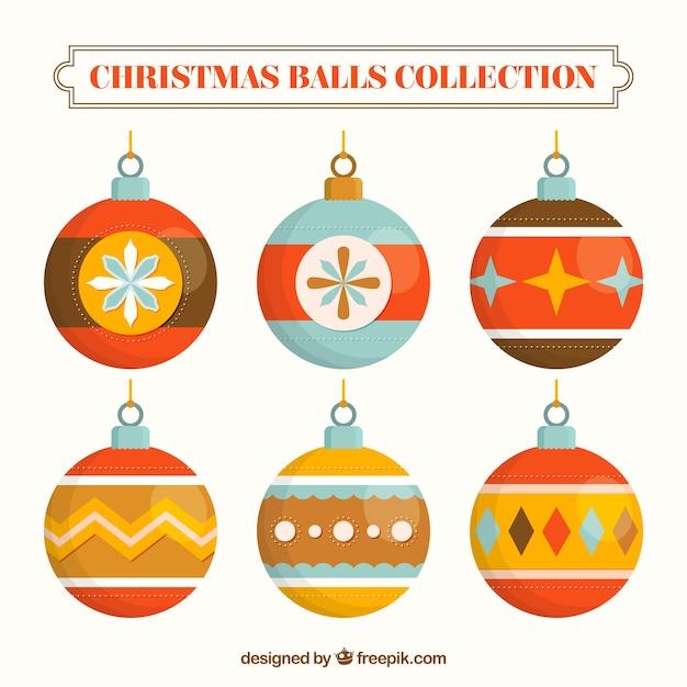 Nice retro christmas balls in flat design