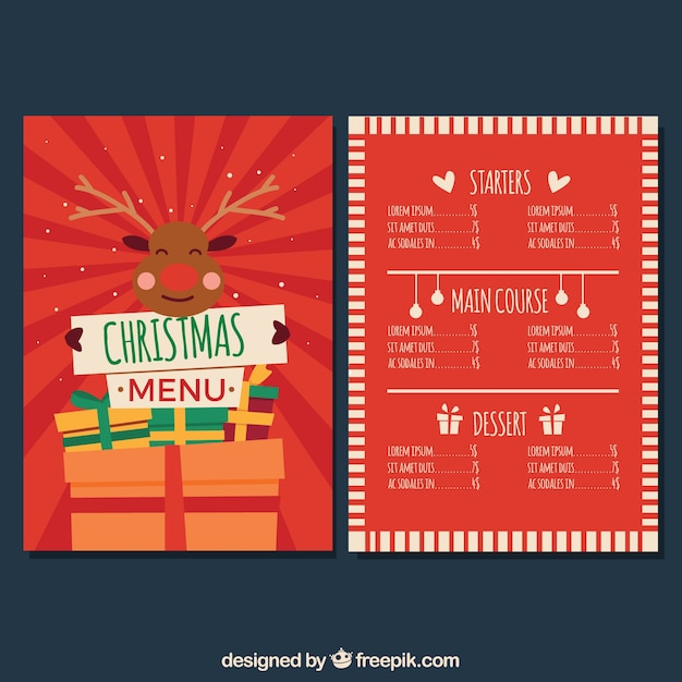 Nice retro christmas menu with reindeer