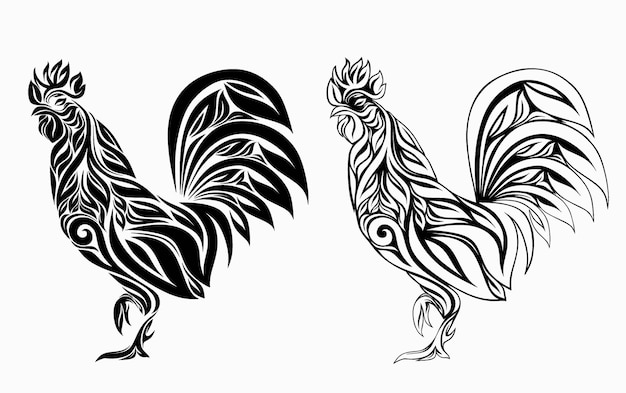 Nice rooster floral ornament decoration. Premium Vector