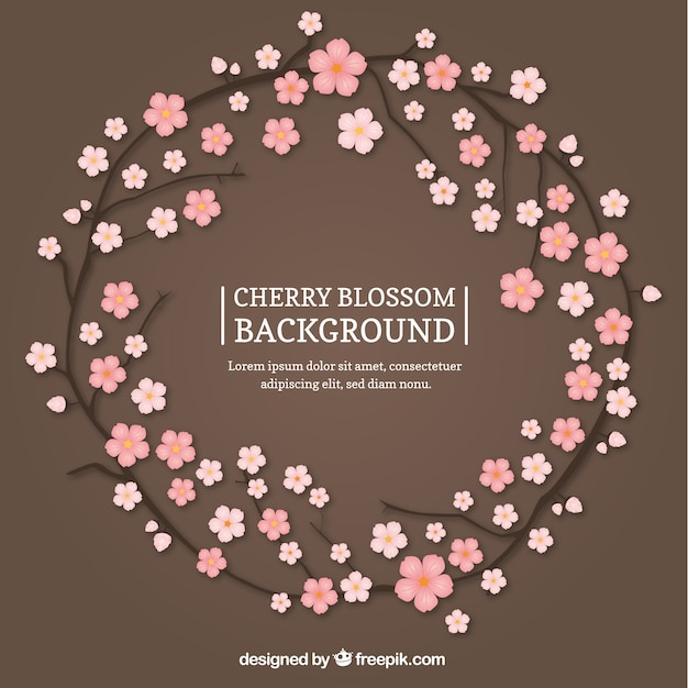 Nice sakura wreath background Free Vector