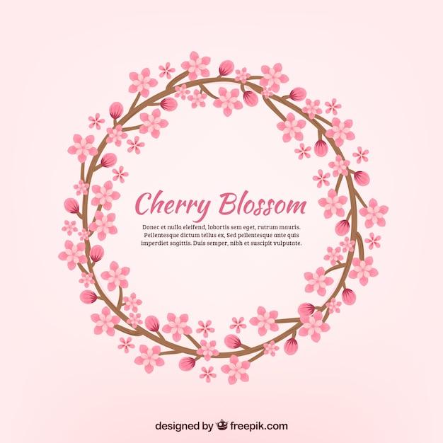 Nice sakura wreath background Free Vector