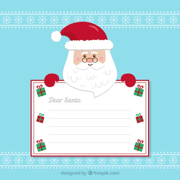 Nice santa claus with blank sign