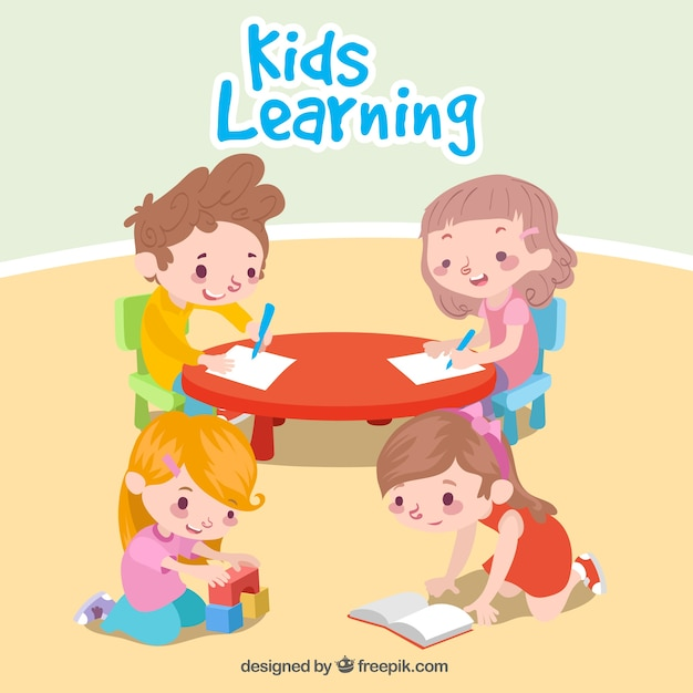 Nice scene of children learning