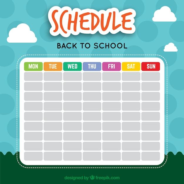 Nice school calendar with a landscape background Free Vector