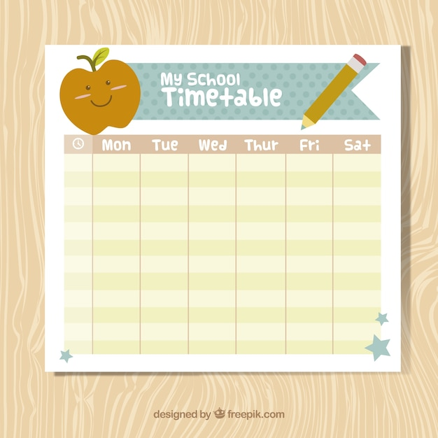 Nice school timetable with school elements Vector – School Time Table Designs