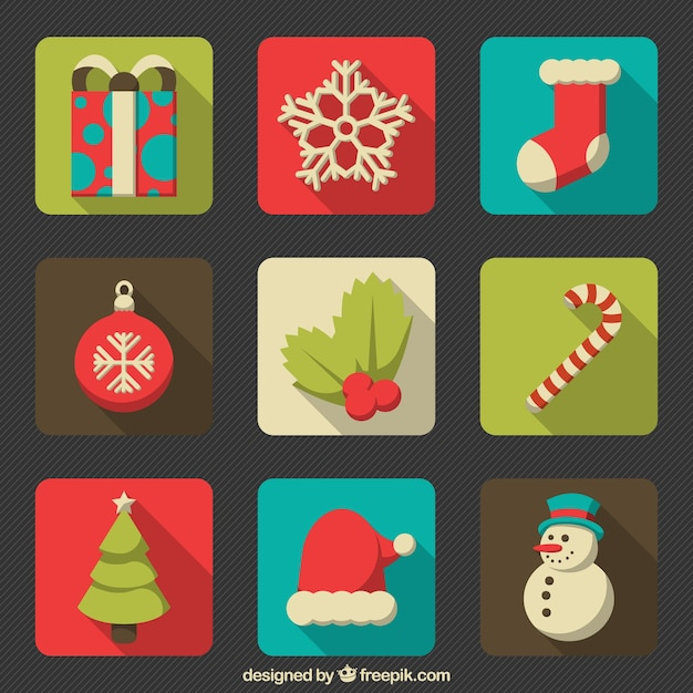 Nice selection of christmas items in flat style