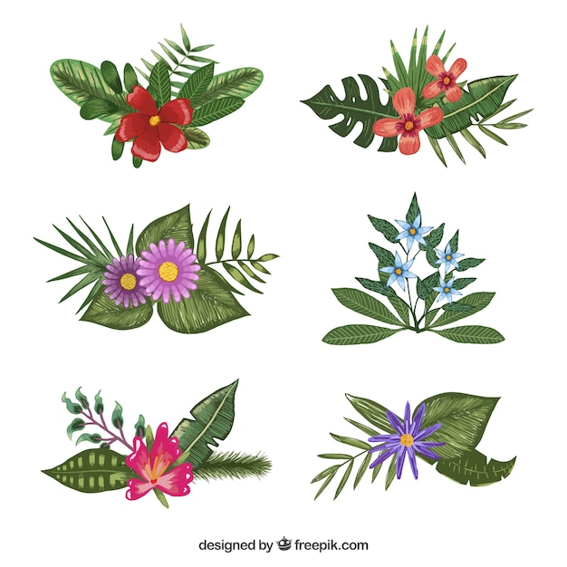 Nice Selection Of Different Flowers Painted With Watercolors Free Vector