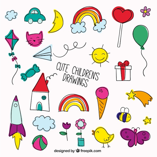 Nice set of children's drawings, full color Free Vector