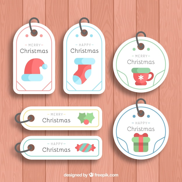 Nice simple christmas labels Free Vector