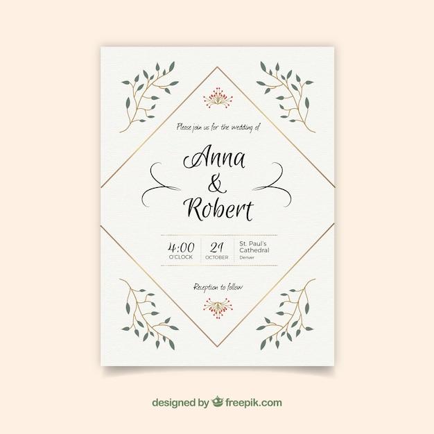 Nice simple wedding invitation Free Vector