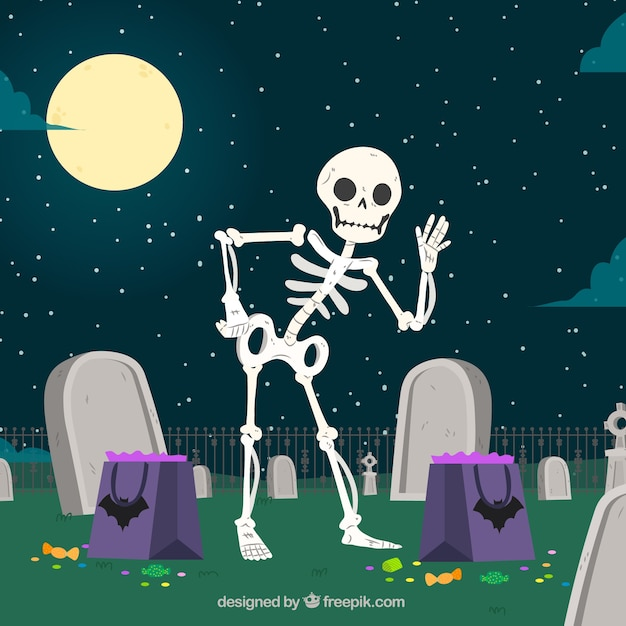Nice skeleton background in the cemetery Free Vector