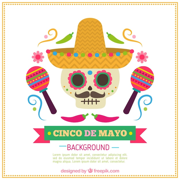 Nice skull with mexican hat and maracas Free Vector