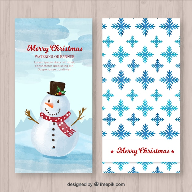 Nice snowman and snowflakes banners