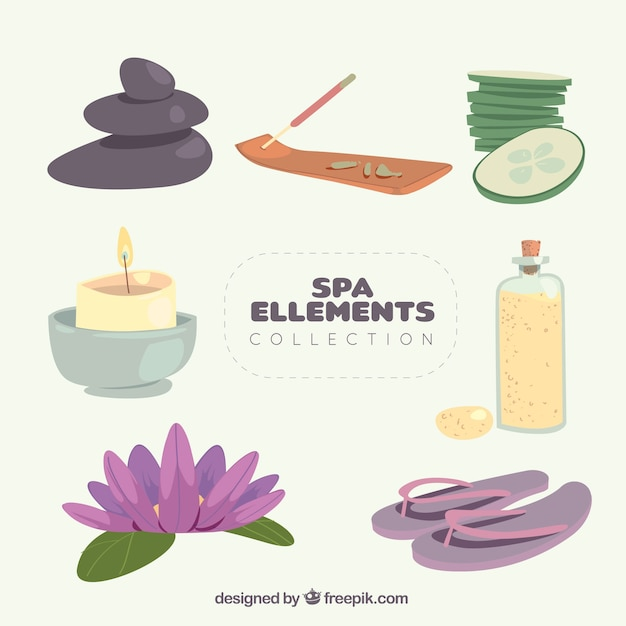 Nice spa element collection Free Vector