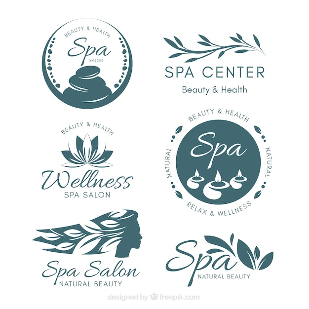 Nice spa logotype templates Free Vector