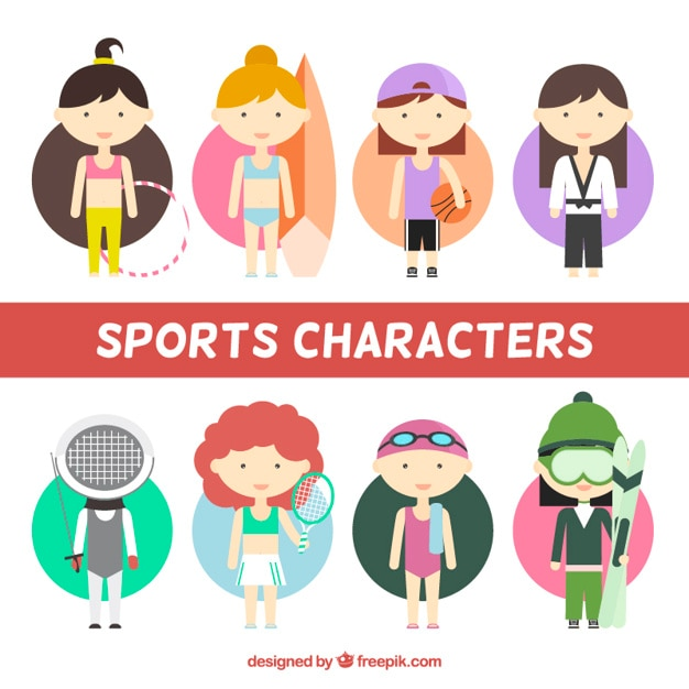Nice sporty girls in flat design Free Vector