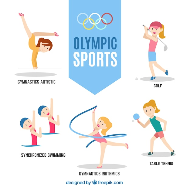 Nice sporty girls ready for olympic games Free Vector
