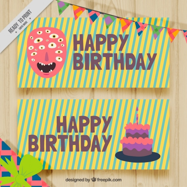 Nice Stripes Birthday Cards Free Vector