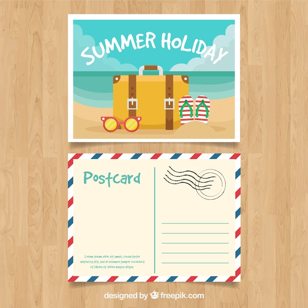 Nice summer postcard Free Vector