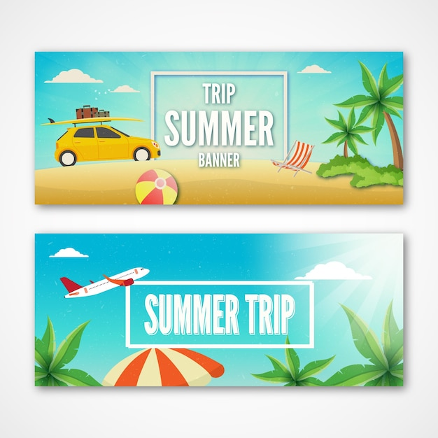 Nice summer trip banners Vecto...