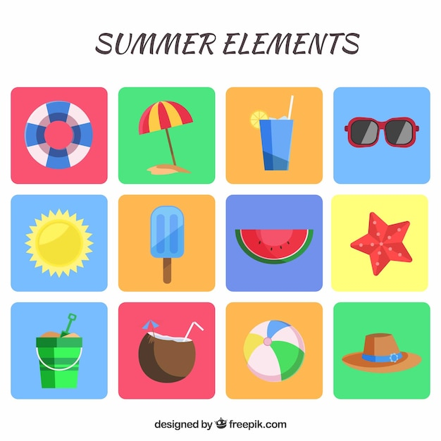 Nice summer vacation elements