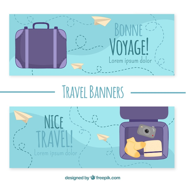 Nice travel banners with hand-drawn luggage