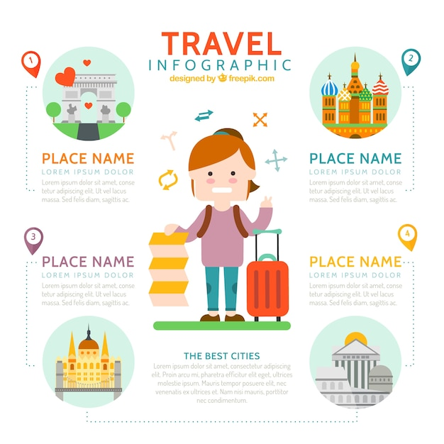 Nice traveller with travel elements infography Premium Vector