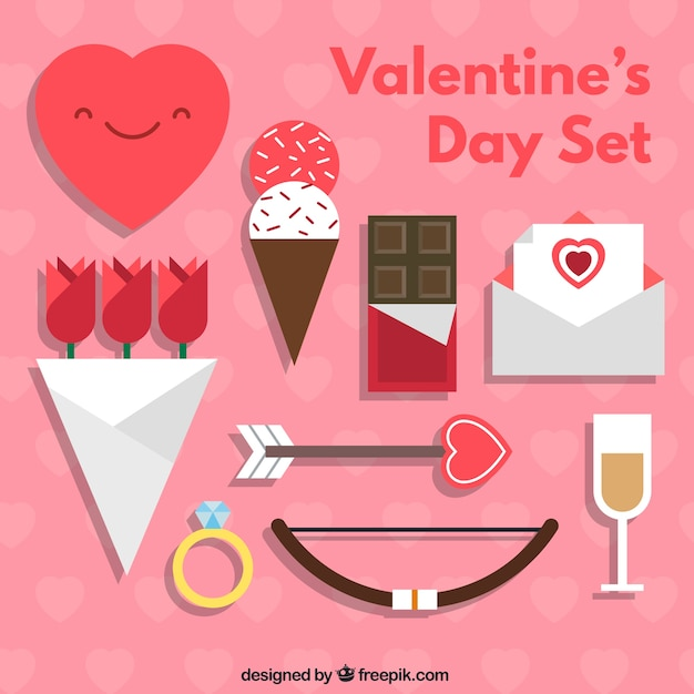 Nice valentine's day elements set Free Vector