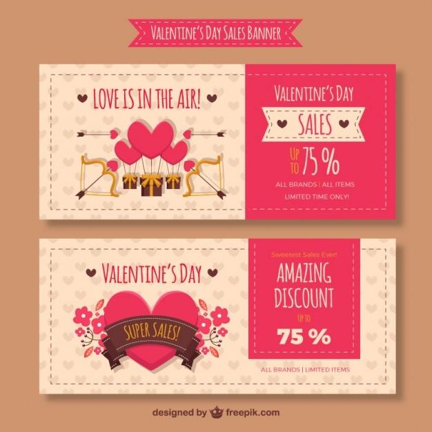 Nice valentine sales banners Premium Vector