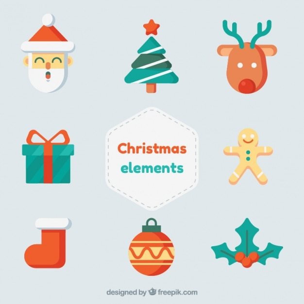 Nice variety of christmas items in flat design