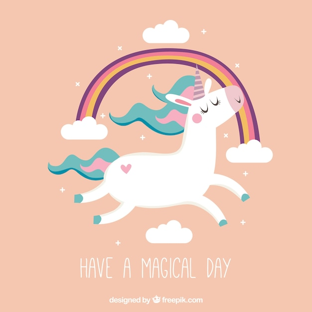 Nice vintage background of unicorn and rainbow with text