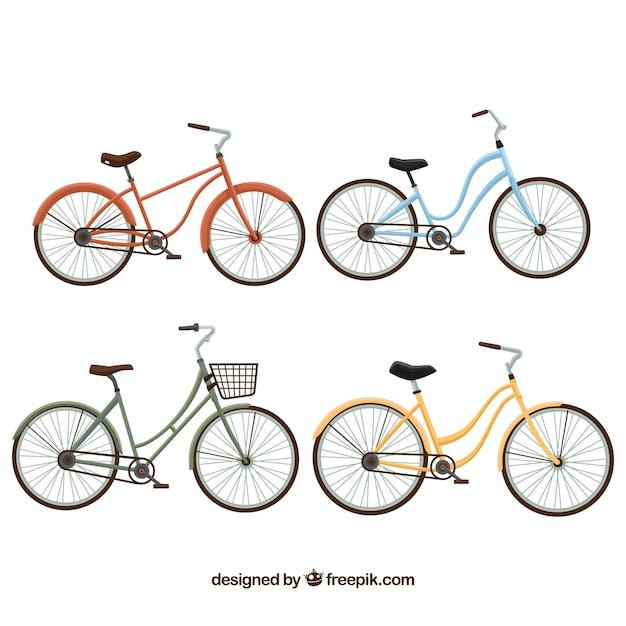 Nice vintage bikes in flat design