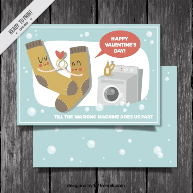 Nice vintage card of socks in love Free Vector
