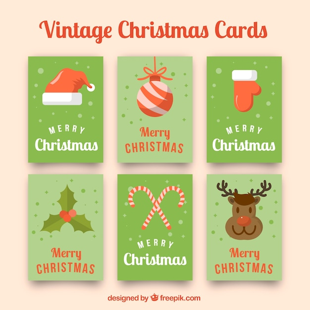 Nice Vintage Christmas Cards Free Vector