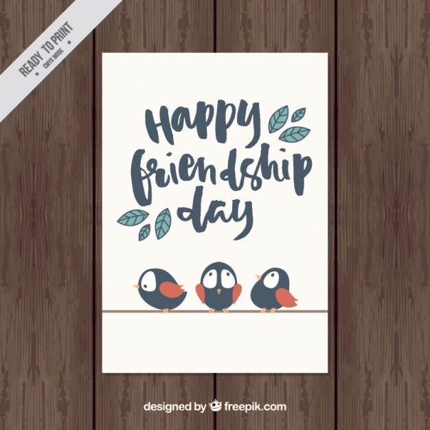 Nice vintage friendship card with birds  Free Vector